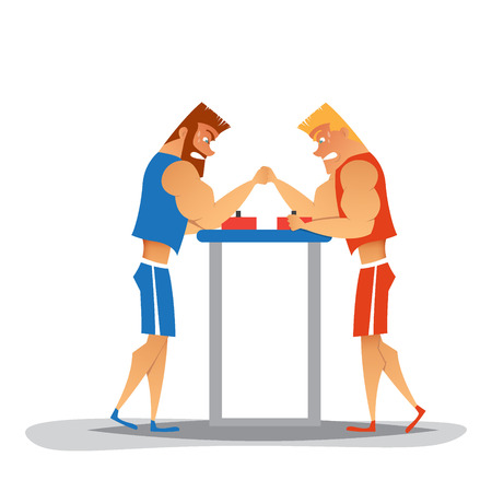Arm wrestling competition.Cartoon athletes are competes. Funny characters Illustration