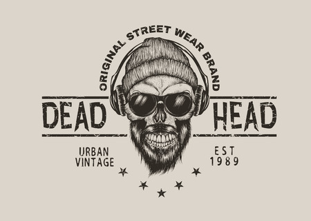 Hand drawn bearded skull in hat and sunglasses listening to music in headphones. T- shirt design. Vector illustration