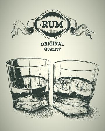bebidas alcohÓlicas: Dos vasos de alcohol y el logotipo de ron. Diseño para la publicidad de bebidas alcohólicas duras. ilustración vectorial Vectores