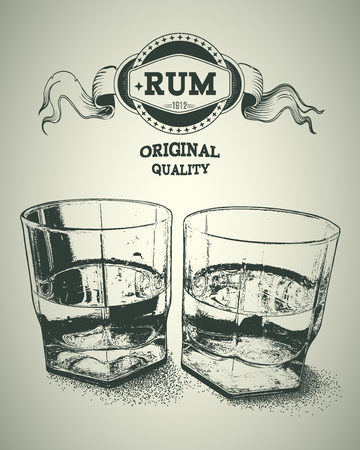 alcoholic: Two glasses of alcohol and rum logotype. Design for advertising of hard alcoholic beverages. Vector illustration