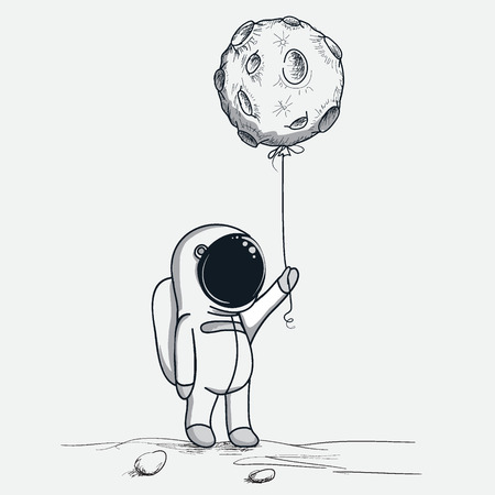 Cute astronaut keeps abstract balloon like a moon.Hand drawn.Cosmic childish vector illustration