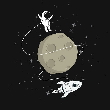 Cute astronaut with spaceship flying around the moon.Cartoon childish vector illustration
