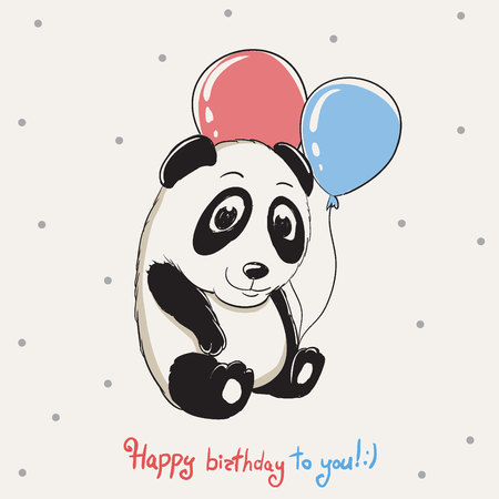 Happy cute panda keeps balloons and congratulations you with birthday.Childish cartoon design for kids t-shirts,dress or greeting cards.