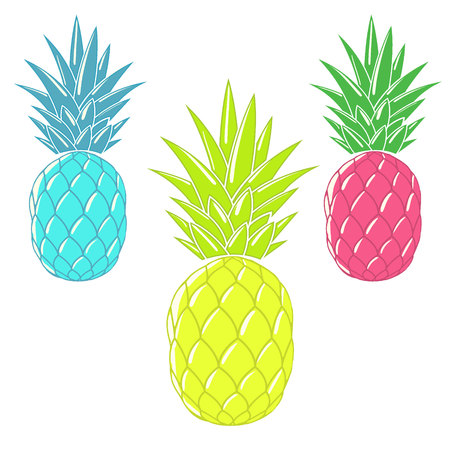limon caricatura: Cartoon ananas.Colorful pineapples isolated on white background.Vector illustration Vectores