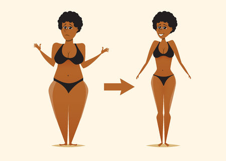 Mujer negra gorda y flaca. Antes y después de la dieta. Ilustración de vector de dibujos animados. Tema de fitness y pérdida de peso