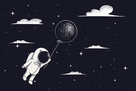 Baby-astronaut fly with balloon to night sky.Travel in clouds.Childish cartoon vector illustration