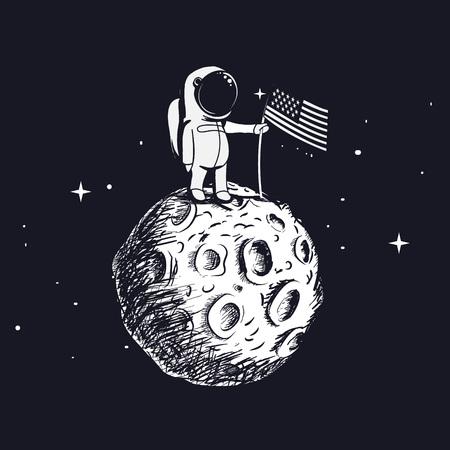EUA astronauta explorou a lua e define a bandeira americana. Caminhada espacial na superfície lunar. Mão desenhada ilustração vetorial