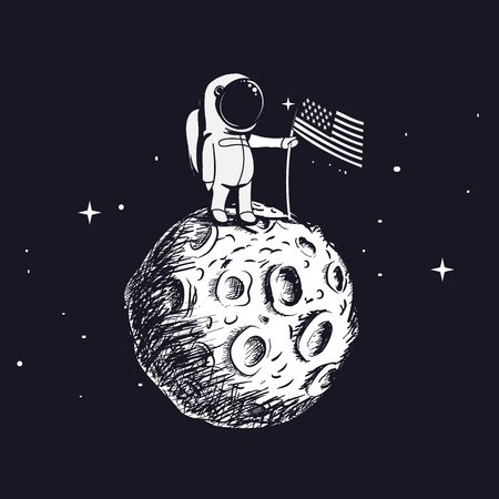 USA astronaut explored the moon and sets american flag.Space walk on lunar surface.Hand drawn vector illustration