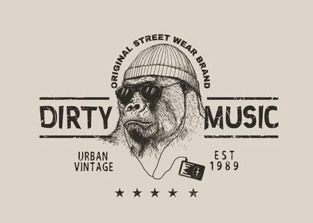 steep gorilla listen a music in headphones.Vector grunge label for t-shirt design .Street style Ilustração