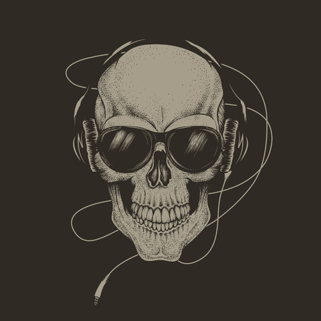 skull in headphones and sunglasses.Isolated on black background.Prints design for t-shirts