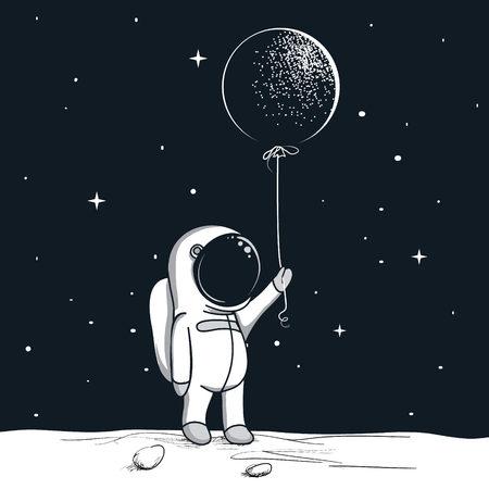 adventure astronaut on the moon.Cute spaceman keeps balloon.Childish hand drawn vector illustration