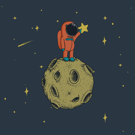 spaceflight: astronaut keeps a star on the moon.Cute spaceman in outer space.Childish hand drawn vector illustration