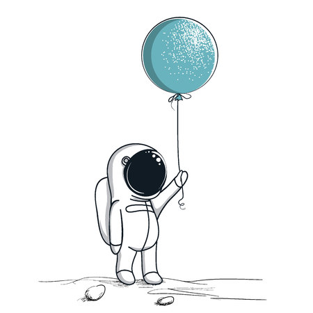 Space walk astronaut on the moon.Cute spaceman keeps balloon.Childish hand drawn vector illustration Illustration