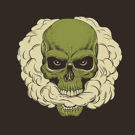 skull breathes the smoke out of his mouth.Dead head smoking the cannabis.