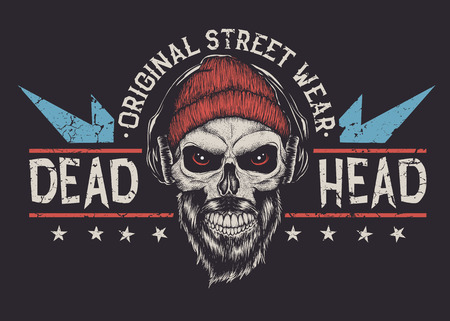 Bearded skull with red eyes.Grunge old typography emblem .Prints design. Vector illustration