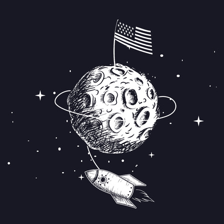 American flag on on the moon.Rocket flying around .Hand drawn vector illustration