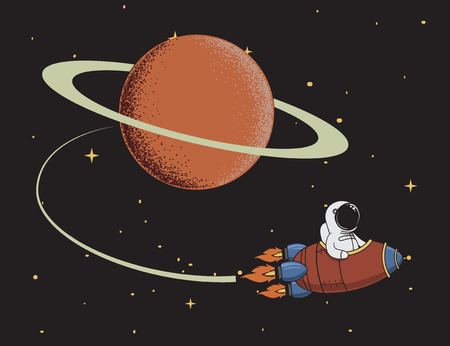 come back: Cute spaceman come back after mission to Saturn. Science color vector illustration