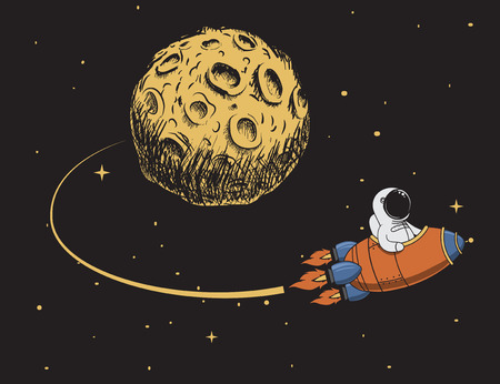come back: astronaut come back after mission to moon.Spaceman adventure.Childish color vector illustration