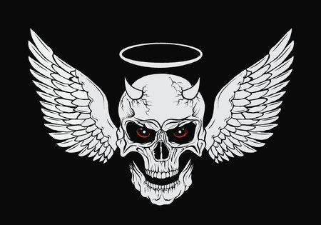 翼と赤い目と角のある頭蓋骨。ベクトル図 写真素材 - 74294133