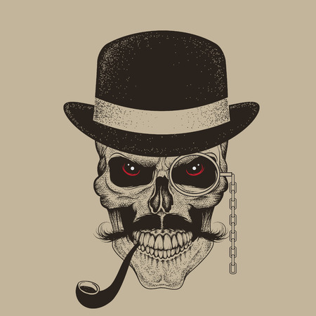 Skull-gentleman dressed in hat smoking cigar.Vintage personage from England