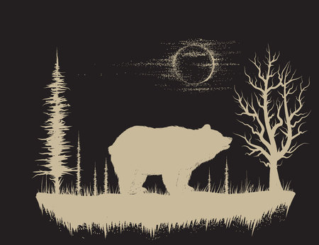 Bear in the strange forest.Animal silhouette.Hand drawn vector illustration