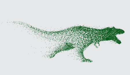 Blurred motion of tyrannosaur .Angry predator made by points.Vector animal.