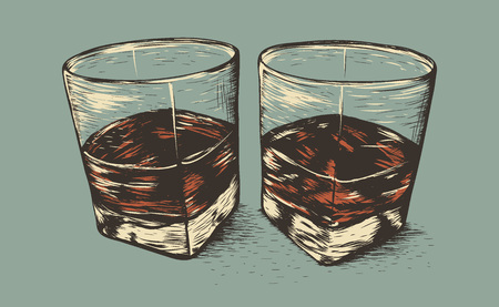 scotch: Two glasses with rum.Old style.Hand drawn work.Vector illustration