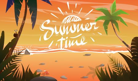seacoast: Summertime on ocean coast. Summer vacation on beach.View to sea.Plants around.Cartoon vector illustration Illustration