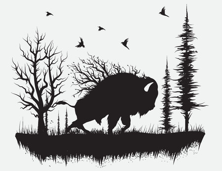 Buffalo walking in the forest.Hand drawn vector illustration Stock Illustratie