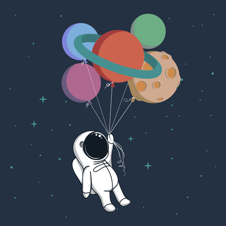Happy spaceman keeps a balloons like a planets in space .Childish cartoon vector illustration