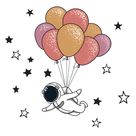 Funny spaceman fly with many balloons.Childish vector illustration