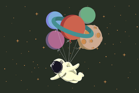 spaceflight: spaceman flying with balloons like a planets in space.Childish cartoon vector illustration