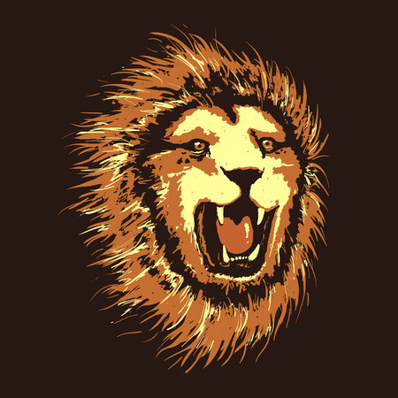 Head of angry lion.Pop art style.Vector illustration
