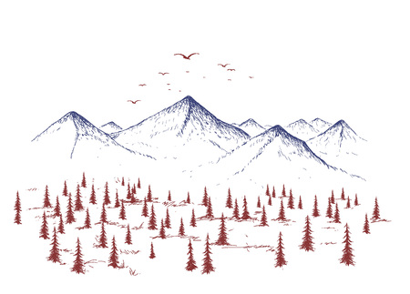 paysage: Mountain and forest. Graphic landscape of nature. Vector hand drawn style.