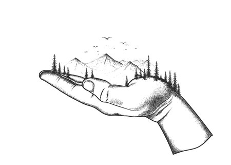 paysage: mountain and forest are located on a human hand.Abstract vector illustration.Nature theme