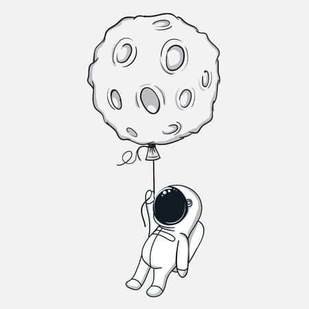 かわいい宇宙飛行士は月で飛ぶ。抽象的な幼稚なベクトル図 写真素材 - 76067997