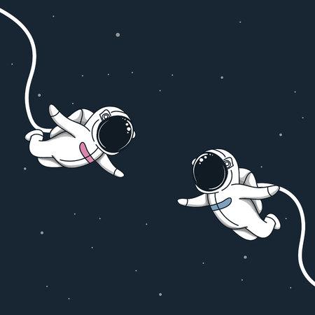 Amore dello spazio in cosmo. La ragazza ed il ragazzo dell'astronauta volano incontrarsi. Illustrazione di vettore romantica