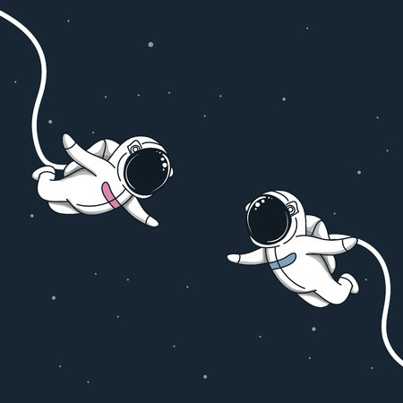 Space love in cosmos.Astronaut girl and boy fly to meet each other.Romantic vector illustration Ilustrace