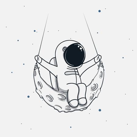 L'astronauta si siede sulla luna crescente Illustrazione infantile di vettore.