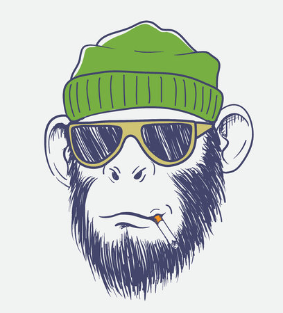 cool monkey smoking a cigarette.Hand drawn vector illustration