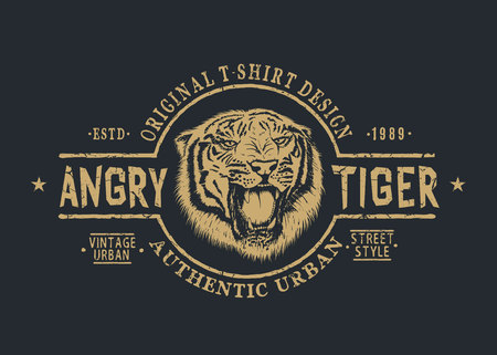 Retro label with angry tiger.Prints design for t-shirts or other uses