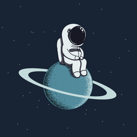 Cute Baby-astronaut Sits On Neptune.Spaceman Adventure.Cartoon ...