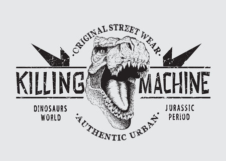 dangerous tyranosaur head .Killing machine.Graphic emblem for prints design of t-shirts or other apparel. angry t-rex Illustration