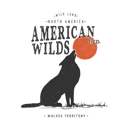 howling wolf.Typography prints design for t-shirts.Vector illustration Illustration