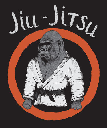 Retro prints design for t-shirts or ancient poster.Gorilla is jiu-jitsu fighter.Vector illustration Illustration