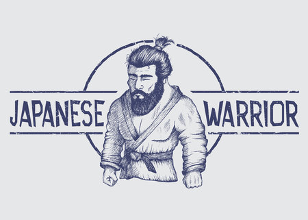bjj: A Vector emblem with japan fighter of judo or Jiu-Jitsu.Label of japanese warrior.Hand drawn style.Prints design for t-shirts or posters