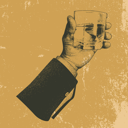 tally: Male hand holding a glass of alcoholic drink.Grunge background.Vintage vector illustration