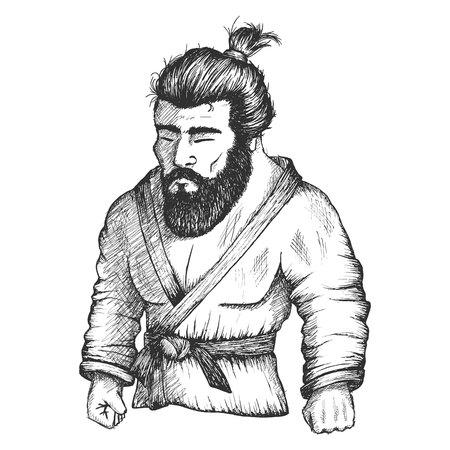 bjj: Japan fighter of judo or Jiu-Jitsu Illustration