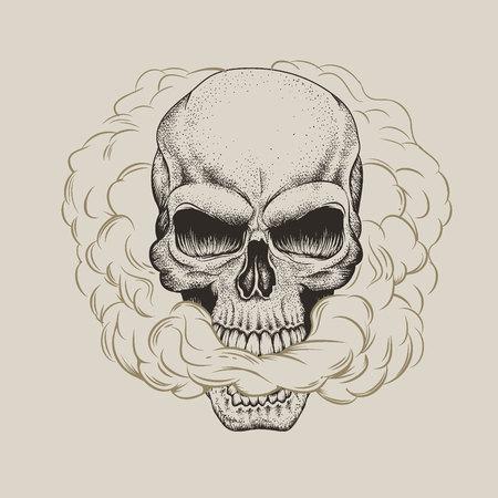 Skull breathes smoke