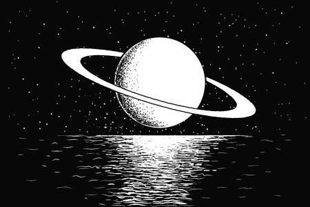 Saturn reflecting on water Иллюстрация